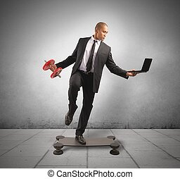 Hard business - Concept of hard and acrobatic business of a ...