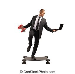 Hard business - Concept of hard and acrobatic business of a...