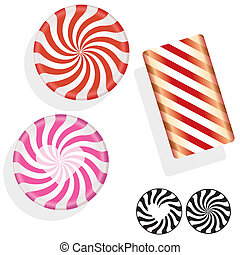 Hard candy illustration - Round swirl candy. Vector set...