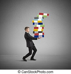 Concept of hard career with workload businessman