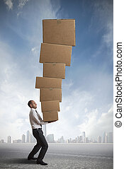 Hard career in the business - concept of hard career in the...