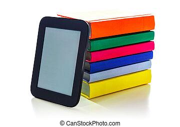 hard, dekking, boekjes , lezer, elektronisch boek