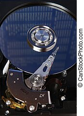 Hard disk and blue plate