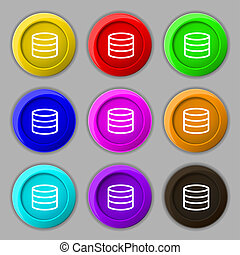 Hard disk and database icon sign. symbol on nine round colourful buttons.
