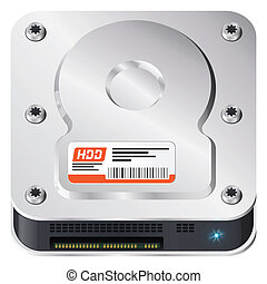 Hard disk, computer part. iOS style icon.