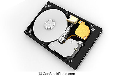 hard disk - Digital illustration of hard disk in abstract...