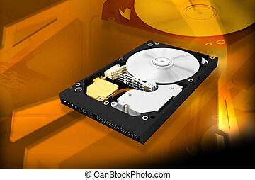hard disk - Digital illustration of hard disk in digital...