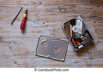 hard disk disassembled repairing