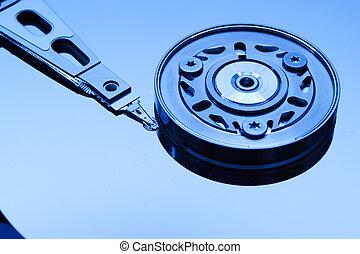 Hard disk drive close-up. Close-up. Blue tint. Shallow DOF.