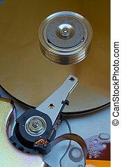 Hard Disk Drive - Close-up view of computer hard disk drive...