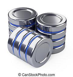 Hard disk drive - databases icon. 3d illustration over white...
