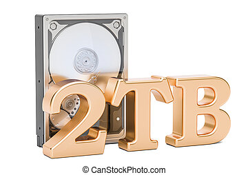 Hard Disk Drive (HDD), 2 TB. 3D rendering