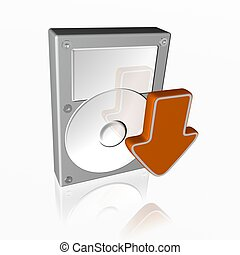 hard disk drive icon with download sign