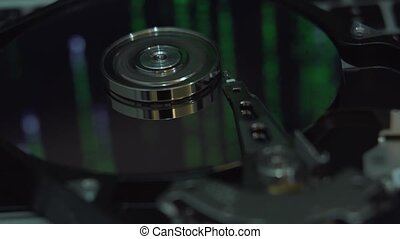 Hard Disk Drive, matrix screen in reflection.