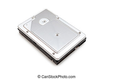 Hard disk drive on white - Storage device (Hard disk drive)...
