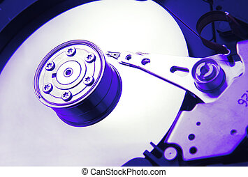 hard disk drive opened in blue color