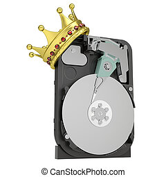 Hard disk drive with the crown. Isolated render on a white...