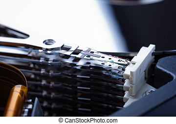 Hard Disk Heads - Macro shot of the  heads of an hard disk