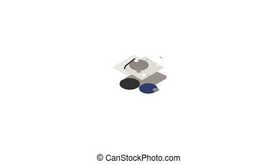 Hard disk icon animation isometric best object on white backgound