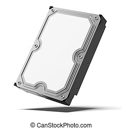 Hard disk isolated on a white background. 3d render