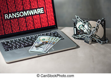 Hard disk locked with monitor show ransomware cyber attack...