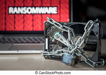 Hard disk locked with monitor show ransomware cyber attack