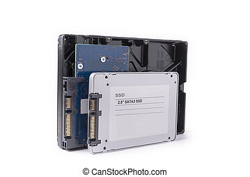 hard disks and solid state SATA drives on the white background,