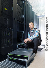 hard disks drive in the storage system - IT Engineer rack...