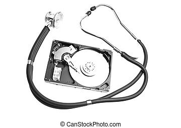 hard drive and a stethoscope - Computer hard drive and a...