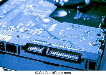 hard drive close up - close up of SATA hard drive