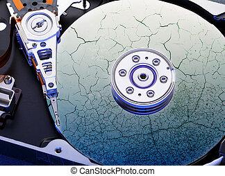 Hard drive computer disk inside in closeup