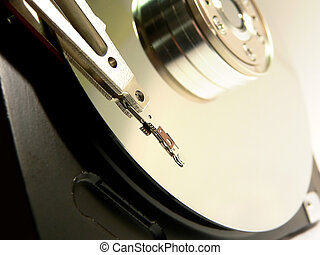 Hard drive details closeup view