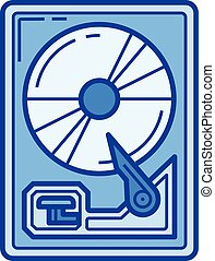 Hard drive disk line icon.