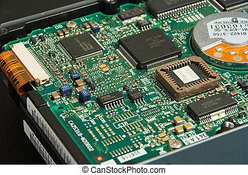 Hard drive electronics - Close up view of hard drive ...
