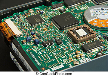 Hard drive electronics - Close up view of hard drive...