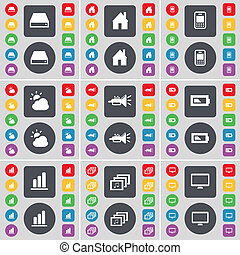 Hard drive, House, Mobile phone, Cloud, Trumped, Battery, Diagram, Gallery, Monitor icon symbol. A large set of flat, colored buttons for your design.
