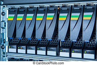 storage system in the data center - hard drive in the...