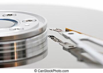 hard drive macro - isolated macro of a pc hard drive, white...