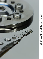 hard-drive, surface, read-write, réflecteur, disque, capteur