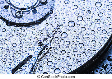Hard drive with water droplets