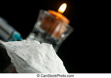 Hard Drugs - Recreational Drugs, Cocaine isolated on black...