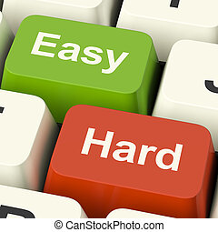 Hard Easy Computer Keys Showing The Choice Of Difficult Or...