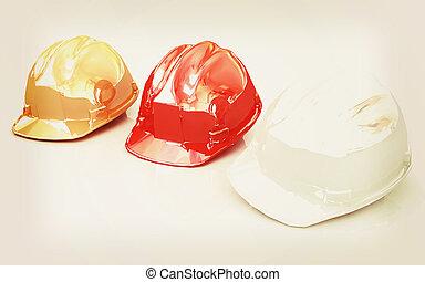 Hard hat. 3D illustration. Vintage style.