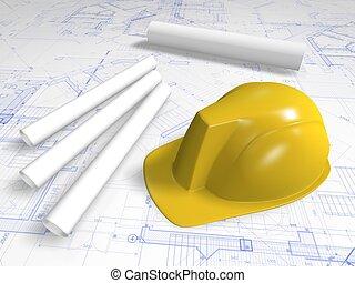 hard hat and blueprint