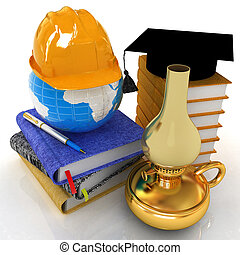 Hard hat and graduation hat on a leather books and notes with retro kerosene lamp. The global concept with Earth of edication for work. 3d render