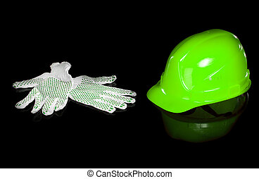 Hard hat and work gloves isolated on white background