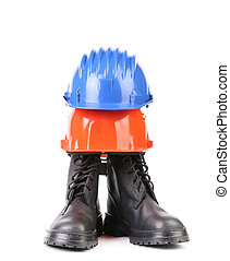 Hard Hat And Work Boots Construction Ppe Steel Toe