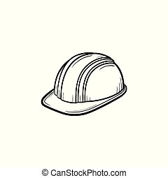Hard hat hand drawn sketch icon.