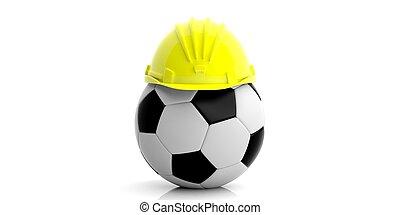 Hard hat on a soccer ball on white background. 3d illustration