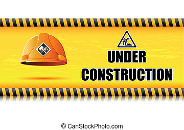 Hard Hat on Under Construction Board